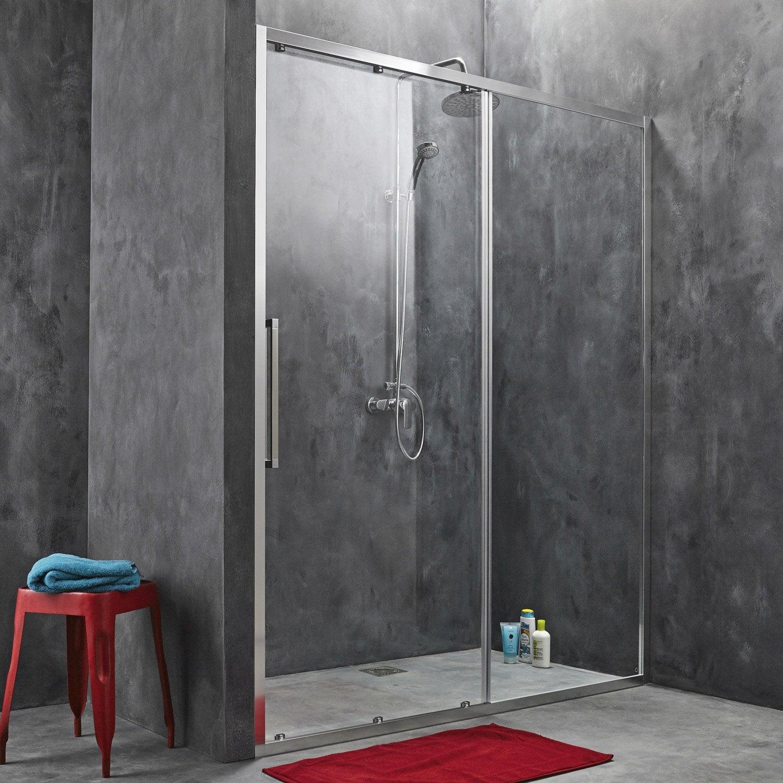 Porte de douche coulissante 157 5 160 5 cm profil chrom - Porte coulissante leroy merlin ...