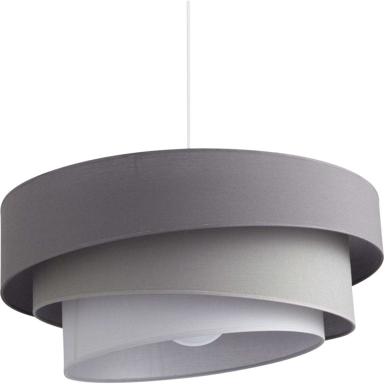 Suspension e27 design ionos coton gris zingué n1 1 x 60 w inspire