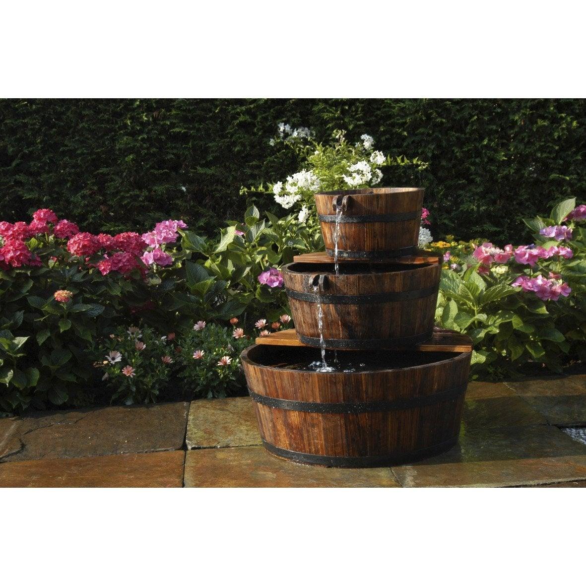 kit fontaine ubbink edingurgh 3 tonneaux bois marron h. Black Bedroom Furniture Sets. Home Design Ideas