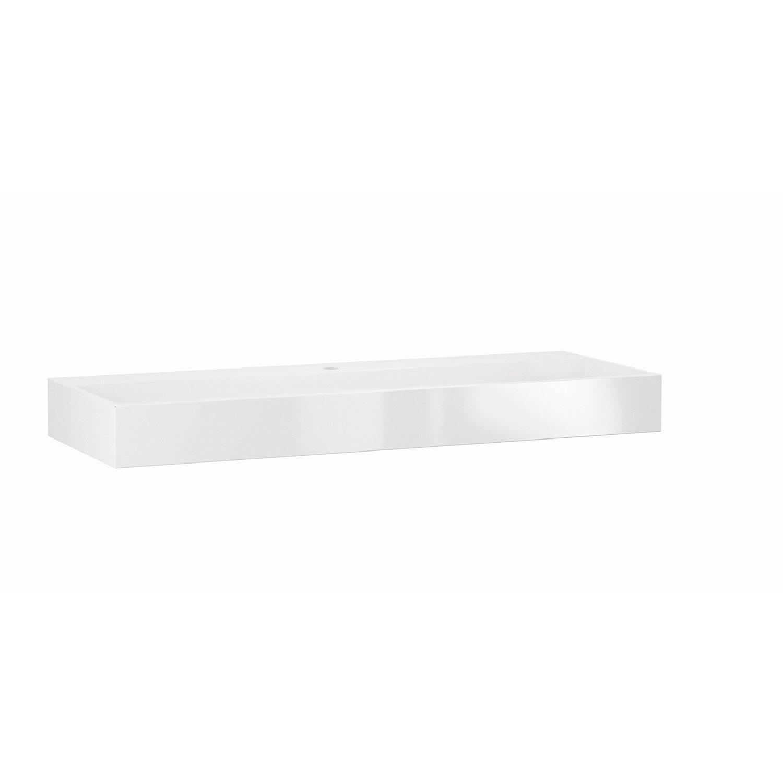 Plan simple vasque r sine de synth se blanc eden for Meuble salle de bain 120 cm leroy merlin