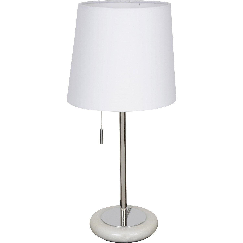 Lampe e14 click corep coton blanc 60 w leroy merlin for Lampe de chevet haute