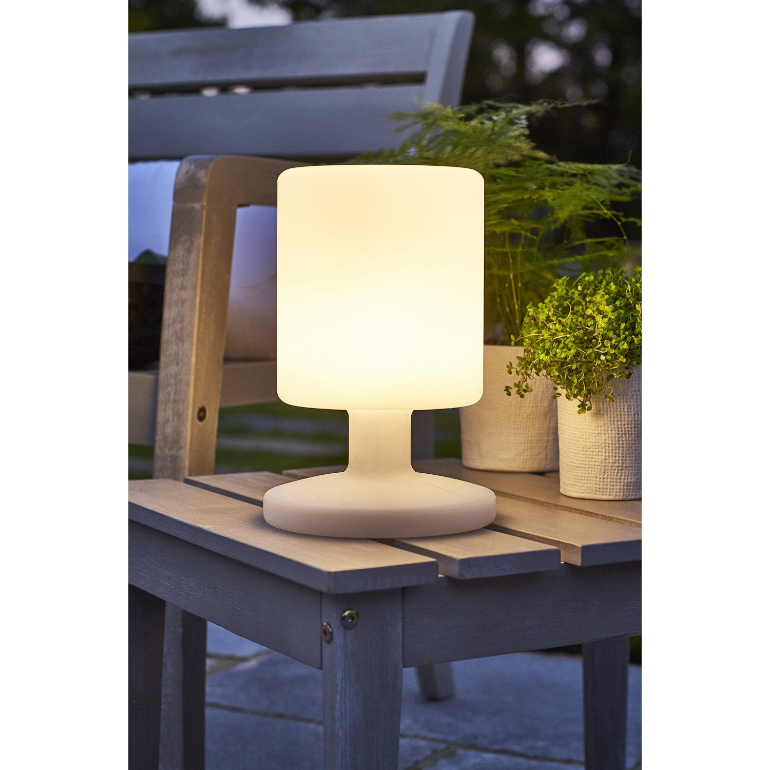 Lampe de table ext rieure led int gr e 5 w 130 lm blanc for Lampe solaire exterieur leroy merlin