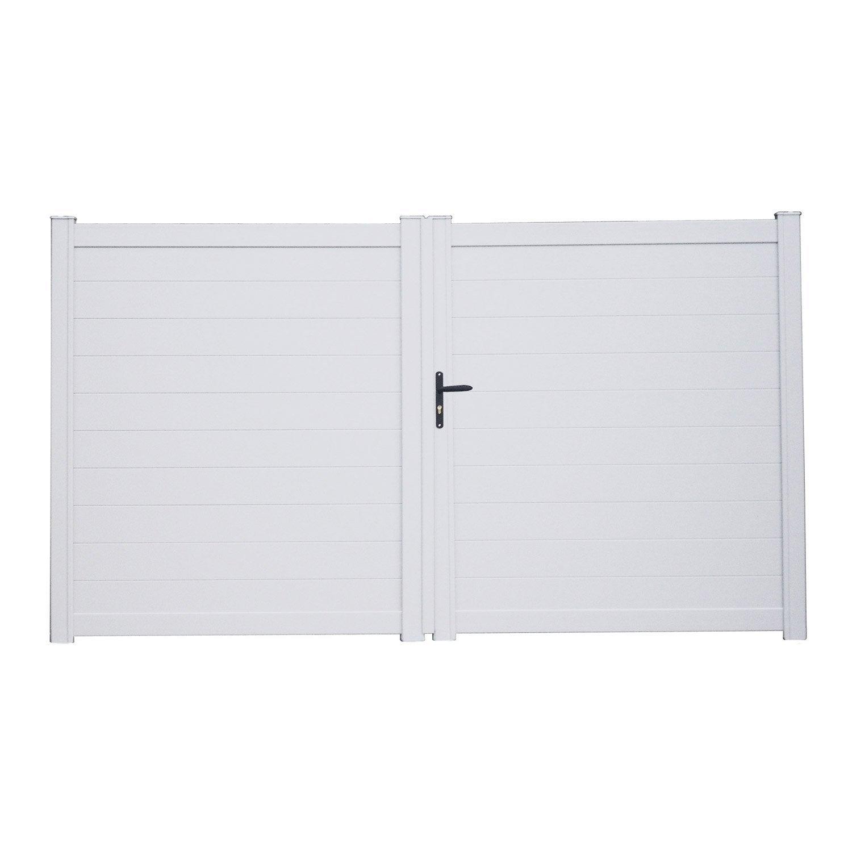 Portail battant aluminium lao blanc naterial x cm leroy merlin - Portail battant aluminium leroy merlin ...