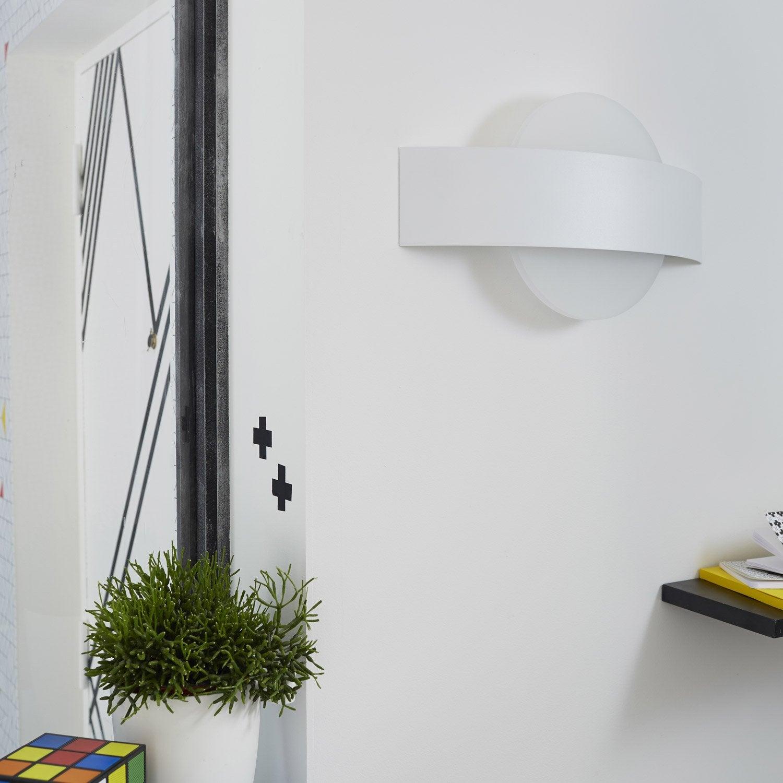 Applique senj 2 x 8 w m tal blanc inspire leroy merlin for Applique murale exterieure avec detecteur leroy merlin