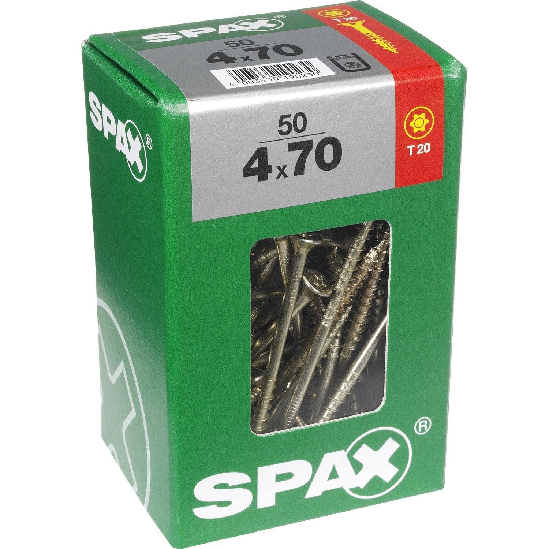 Lot de 50 vis acier t u00eate fraisée torx SPAX, Diam 4 mm x L 70 mm Leroy Merlin # Vis Bois Torx Leroy Merlin