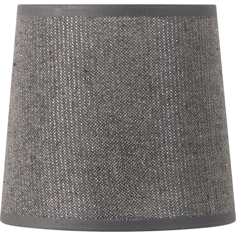 abat jour conique 22 cm coton gris paillettes leroy. Black Bedroom Furniture Sets. Home Design Ideas