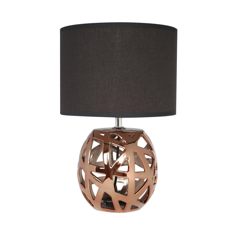 lampe yanis seynave coton sur pvc noir 40 w leroy merlin. Black Bedroom Furniture Sets. Home Design Ideas