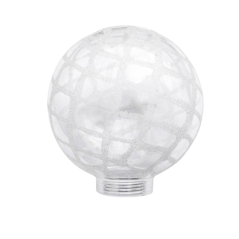 Verre seul pour ampoule globe blanc motif cristal - Globe pour lampadaire exterieur ...