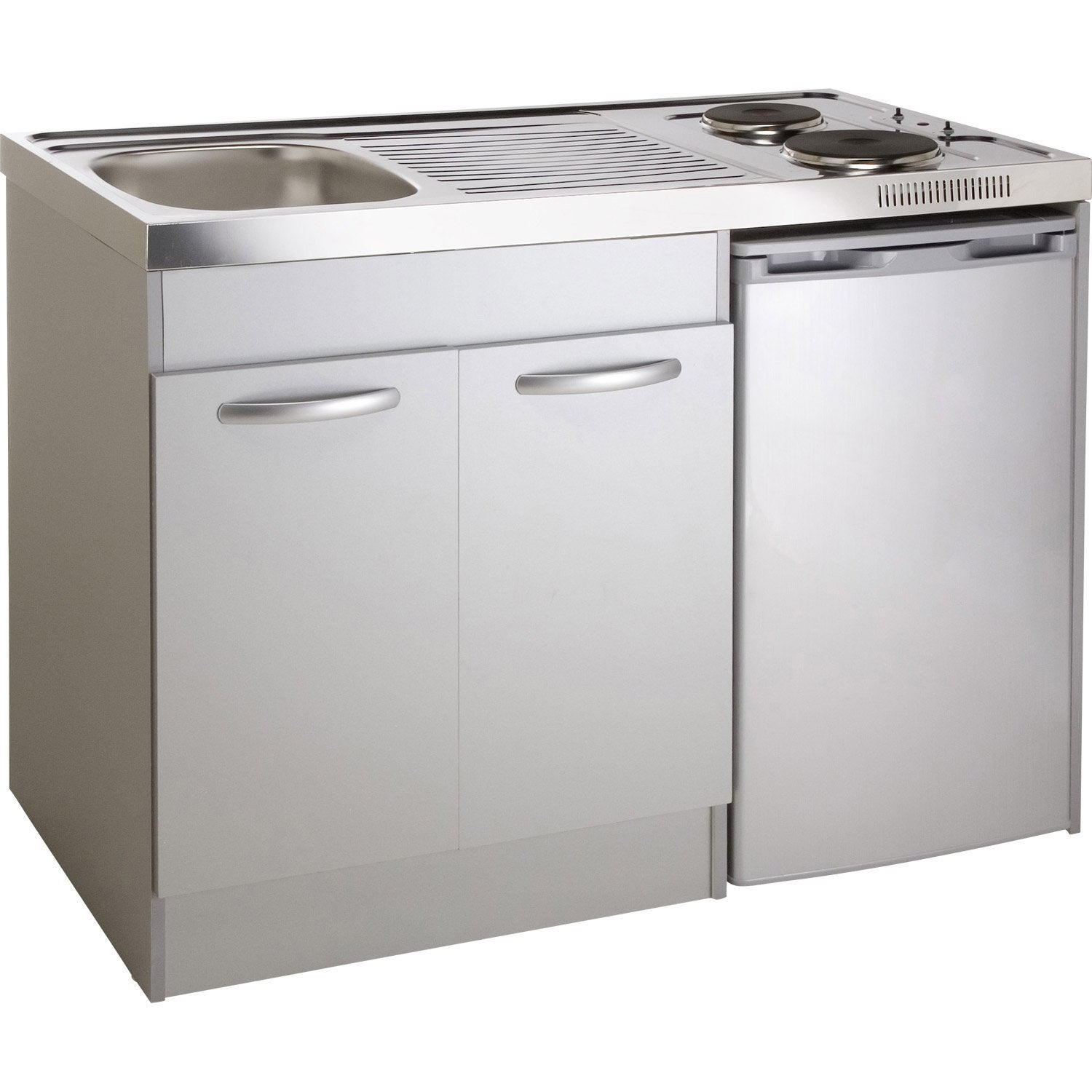 Kitchenette electrique gris aluminium spring x l - Kitchenette leroy merlin ...