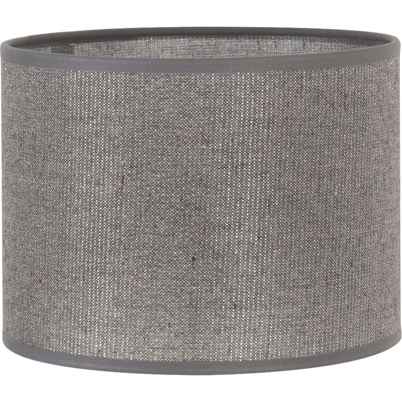 Abat jour tube diam 40 cm coton gris paillettes - Abat jour suspension leroy merlin ...