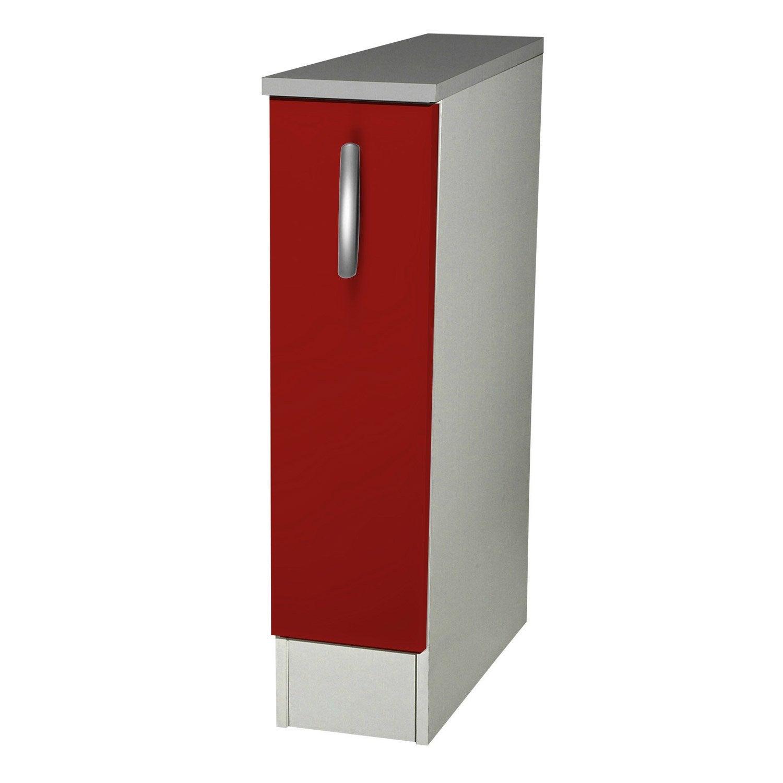 Meuble de cuisine bas 1 porte rouge h86x l15x p60cm for Meuble bas cuisine 50 cm