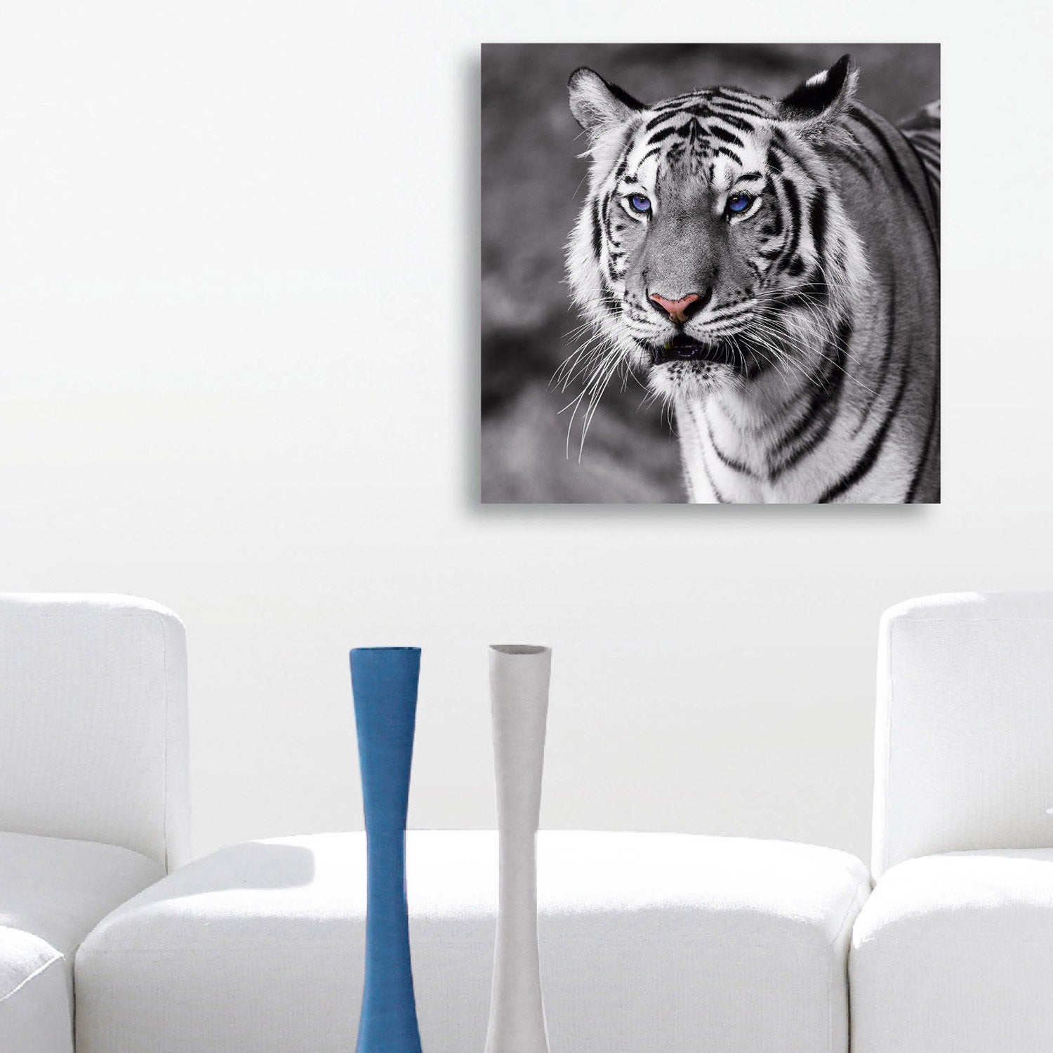 verre imprim tiger with blue eyes deco glass x cm leroy merlin. Black Bedroom Furniture Sets. Home Design Ideas
