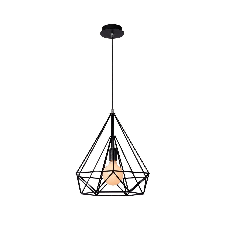 suspension e27 design ricky m tal noir 1 x 60 w lucide leroy merlin. Black Bedroom Furniture Sets. Home Design Ideas