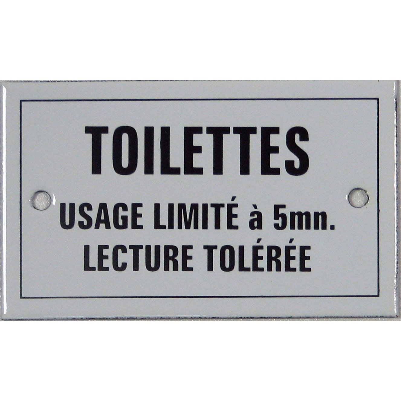 Plaque maill e toilettes usage limit 5mn lecture - Tableau humoristique pour wc ...