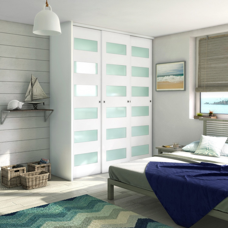 porte de placard coulissante blanc spaceo 250x66cm leroy merlin. Black Bedroom Furniture Sets. Home Design Ideas