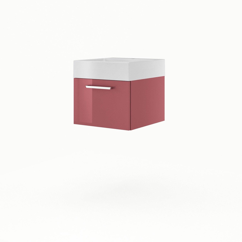 Meuble sous vasque x x cm rouge sensea - Leroy merlin meuble sous vasque ...