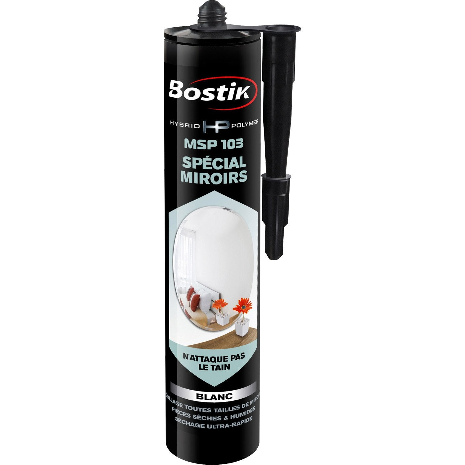 Colle mastic hybrid polymer msp 103 bostik 290ml leroy for Colle pour miroir mural