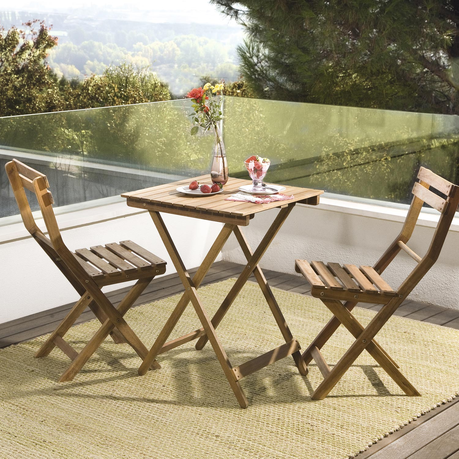 salon de jardin acacia bois marron 1 table et 2 chaises. Black Bedroom Furniture Sets. Home Design Ideas