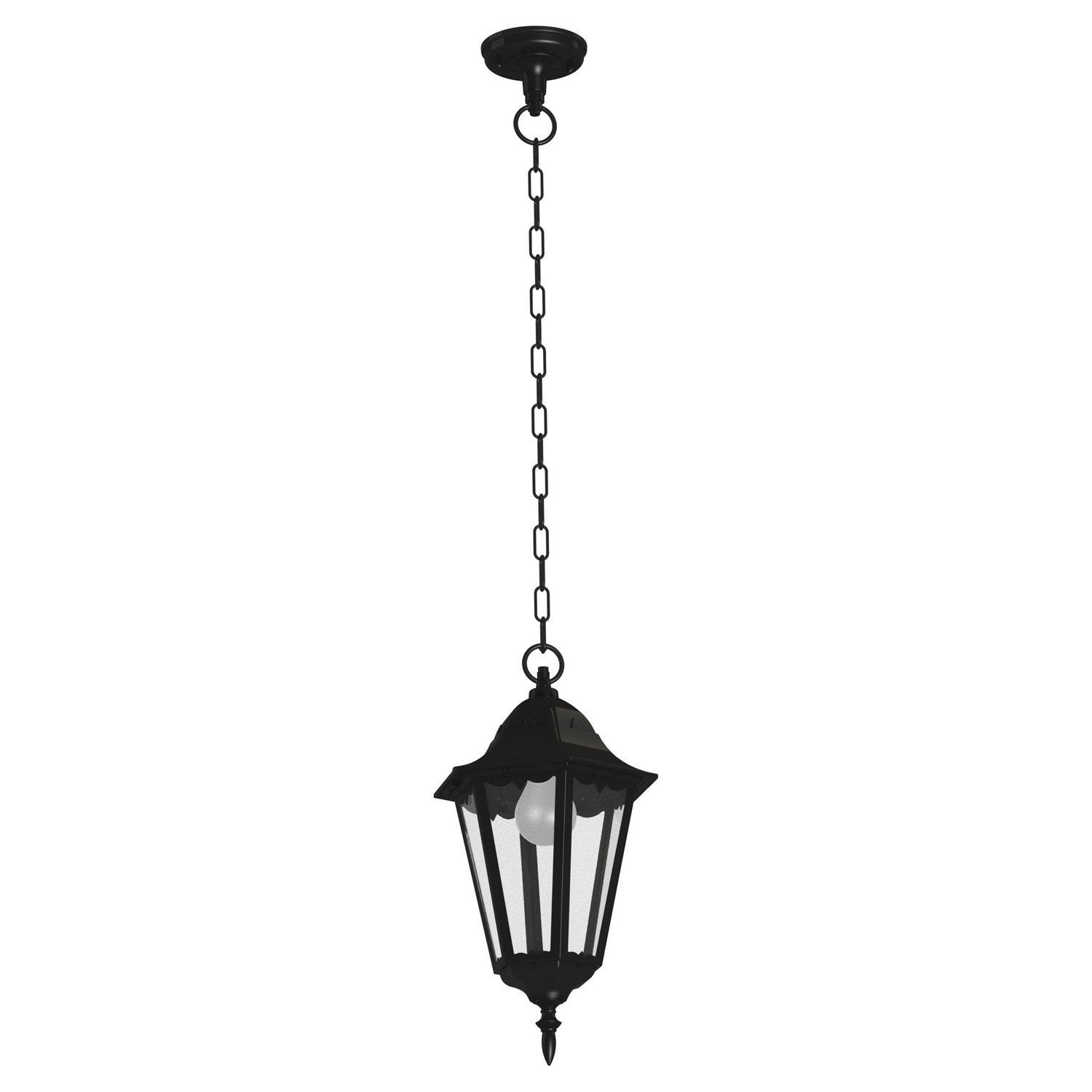 Suspension ext rieure navedo e27 noir argent eglo leroy for Suspension exterieure