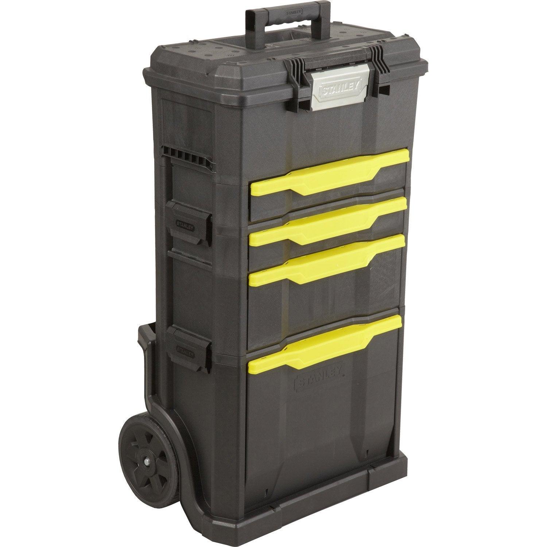 Servante de chantier bo te outils stanley plastique 4 tiroirs 50 cm le - Desserte tiroir plastique ...