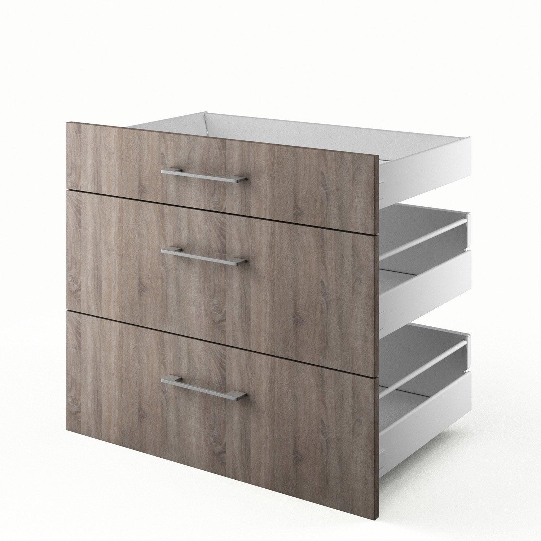 3 tiroirs de cuisine d cor ch ne havane 3d80 topaze for Table cuisine 80 x 80