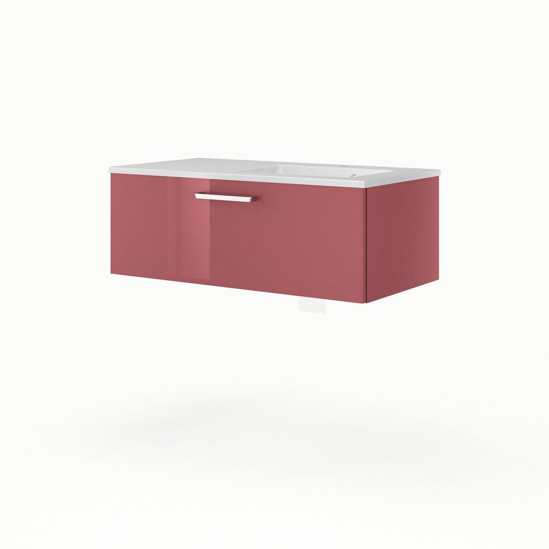 Meuble sous vasque x x cm rouge sensea for Meuble sous vasque 90 cm