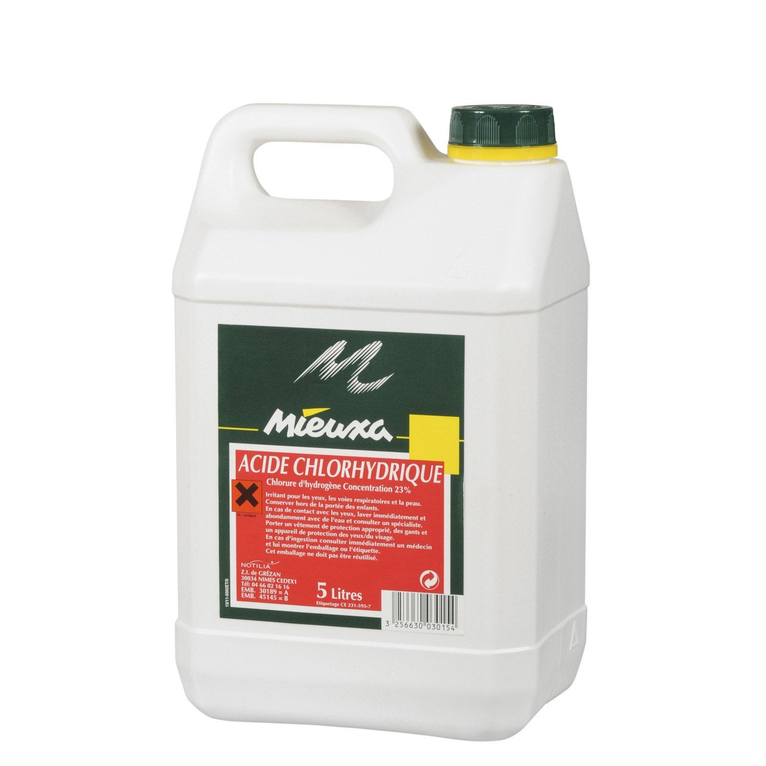 Acide chlorhydrique mieuxa 5 l leroy merlin for Acide muriatique piscine