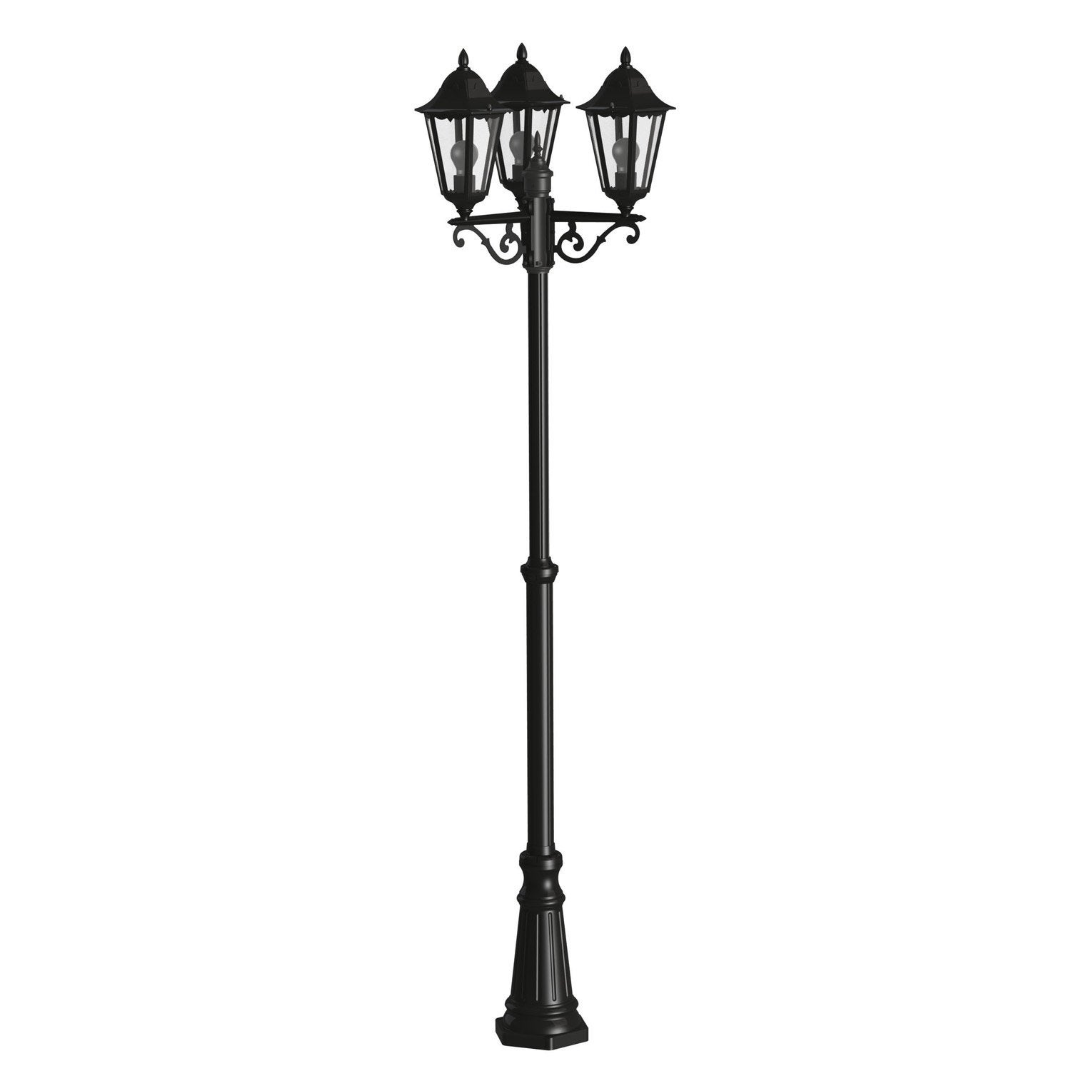 lampadaire ext rieur navedo e27 noir argent eglo leroy. Black Bedroom Furniture Sets. Home Design Ideas