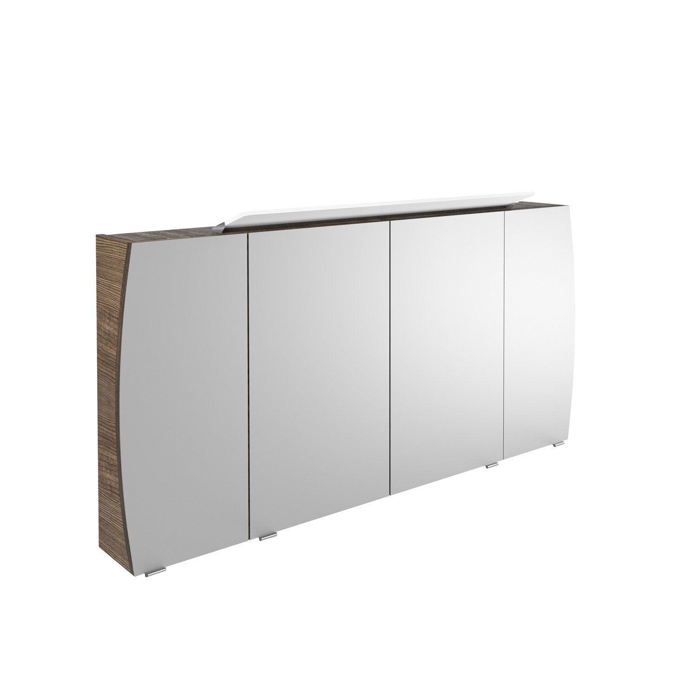 Armoire de toilette lumineuse l 140 cm choco structur for Armoire de toilette leroy merlin