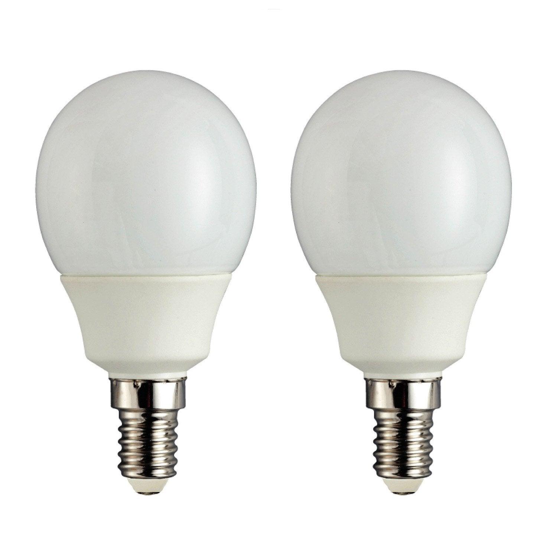 Lot De 2 Ampoules Spheriques Economie D Energie 9w Lexman E 14 Lumiere