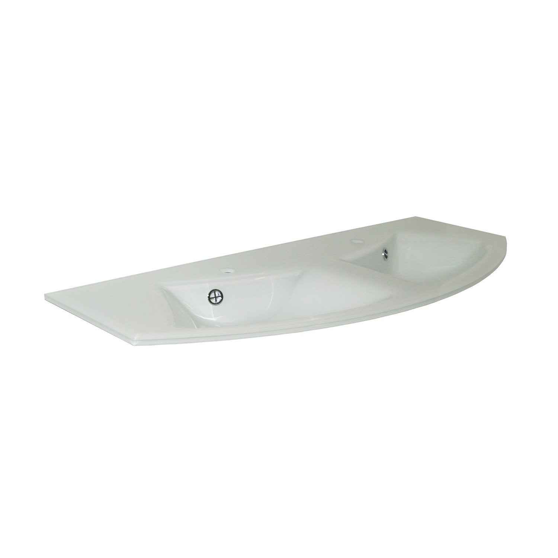Plan vasque double image verre 131 cm leroy merlin - Plan double vasque verre trempe ...