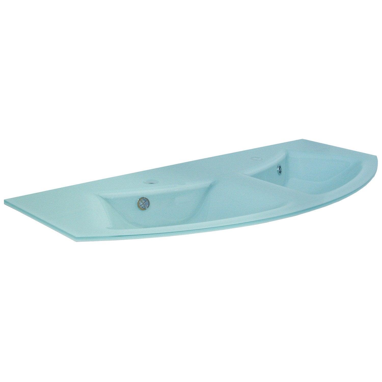 plan double vasques image verre vert l130xl15xp51 5 cm leroy merlin. Black Bedroom Furniture Sets. Home Design Ideas