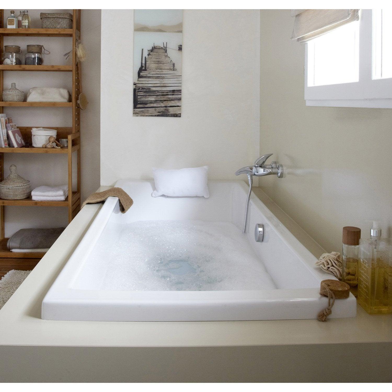 Baignoire rectangulaire cm blanc sensea for Salle de bain baignoire ronde