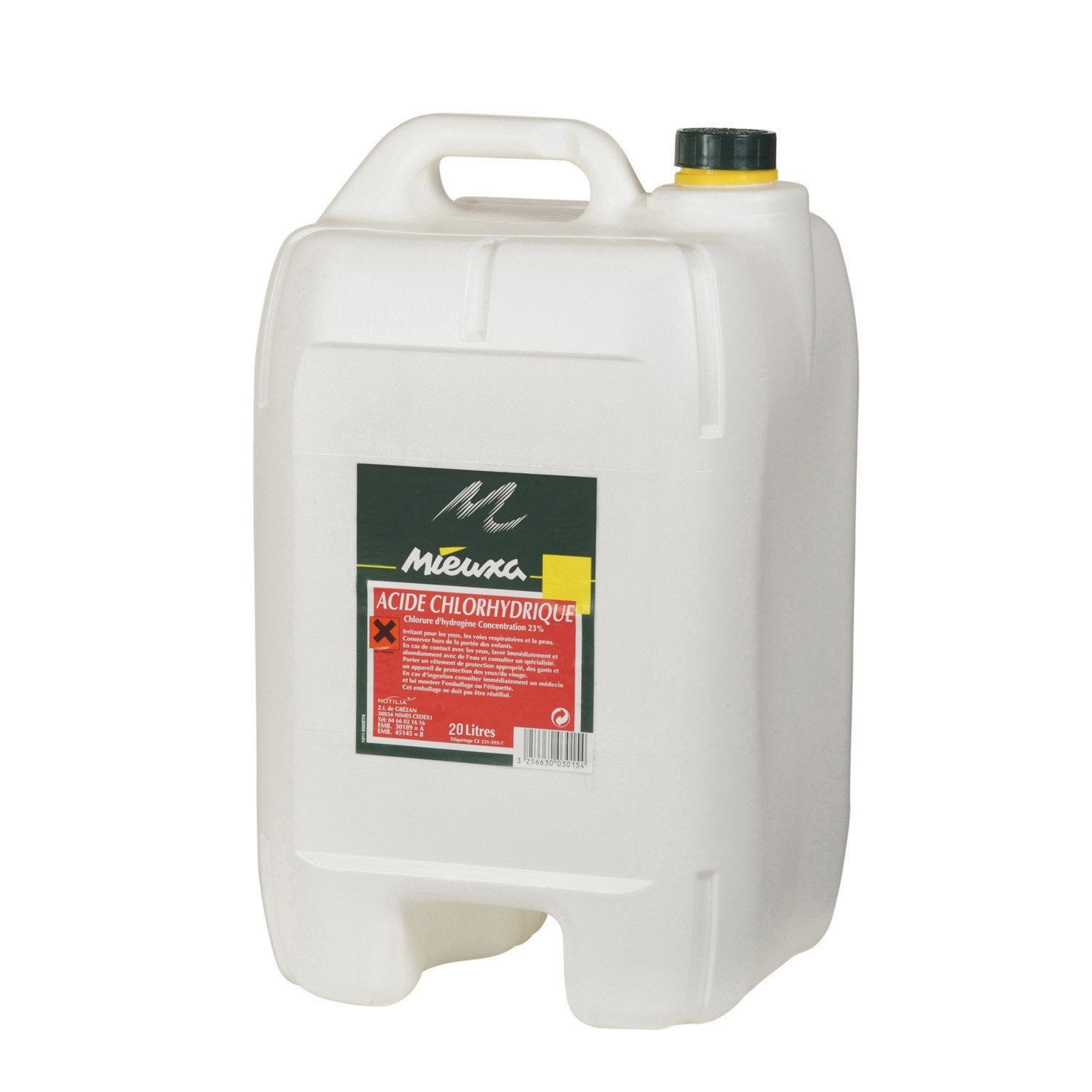 Acide chlorhydrique mieuxa 20 l leroy merlin for Acide muriatique piscine