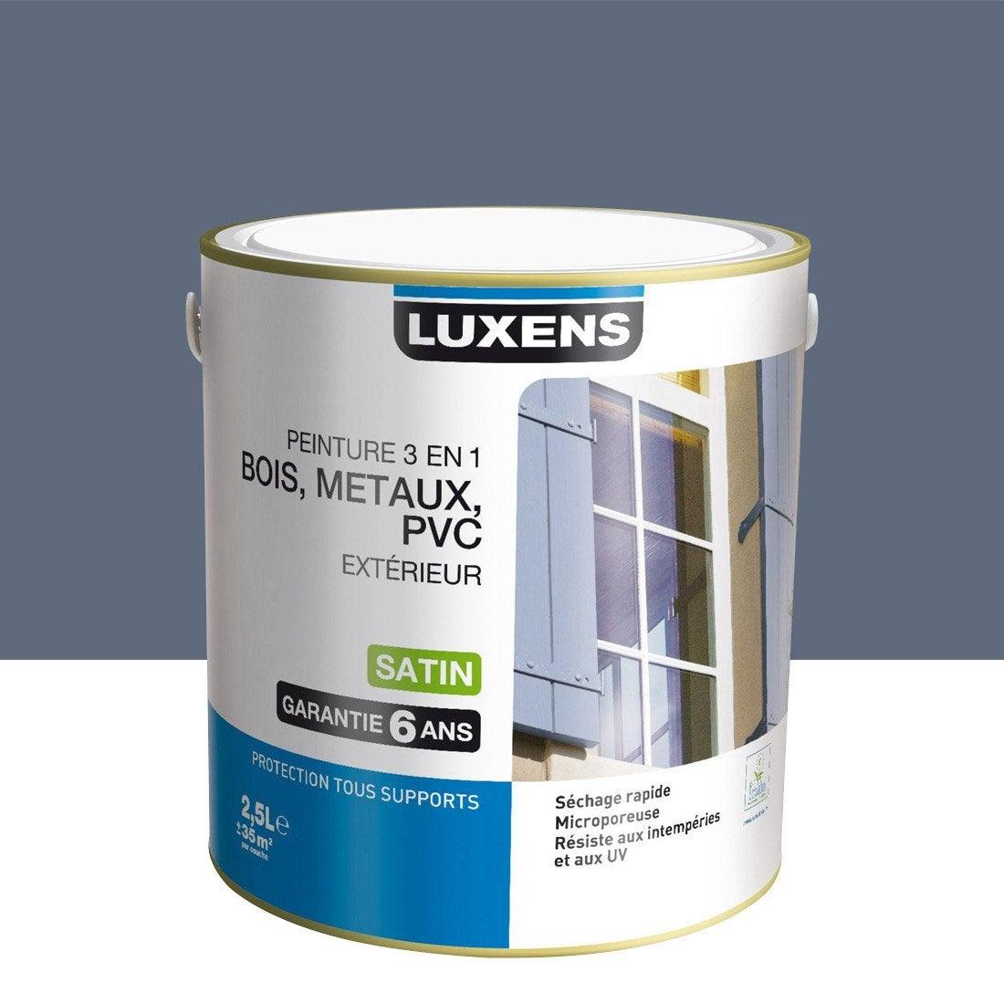 Peinture bois metaux et pvc exterieur 3en1 luxens satin gris zingue n 3 2 for Peinture pvc exterieur ral