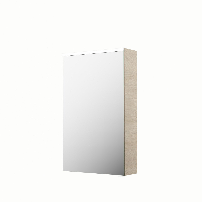 armoire de toilette lumineuse l 45 cm imitation ch ne. Black Bedroom Furniture Sets. Home Design Ideas
