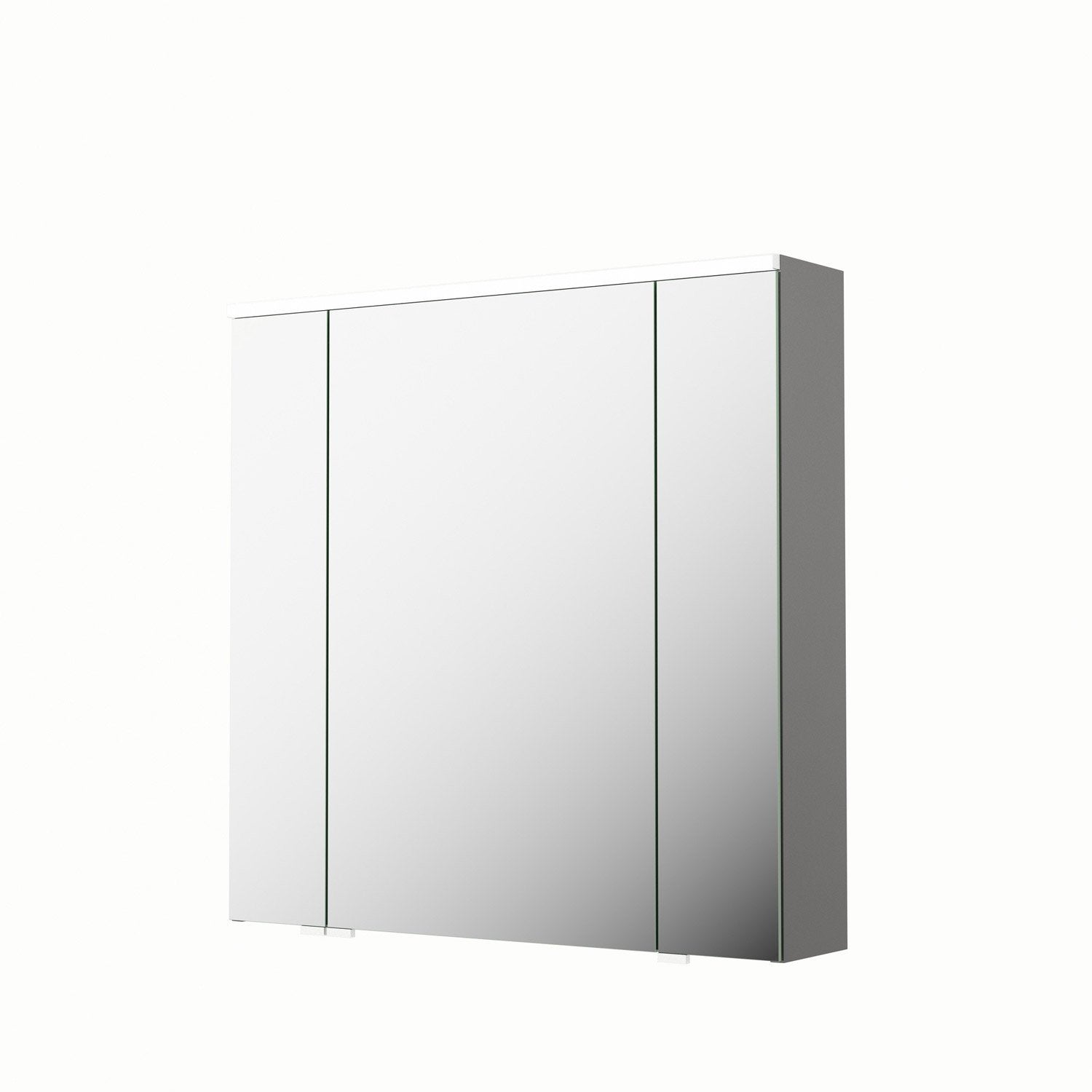 armoire de toilette lumineuse l 75 cm gris sensea neo leroy merlin. Black Bedroom Furniture Sets. Home Design Ideas