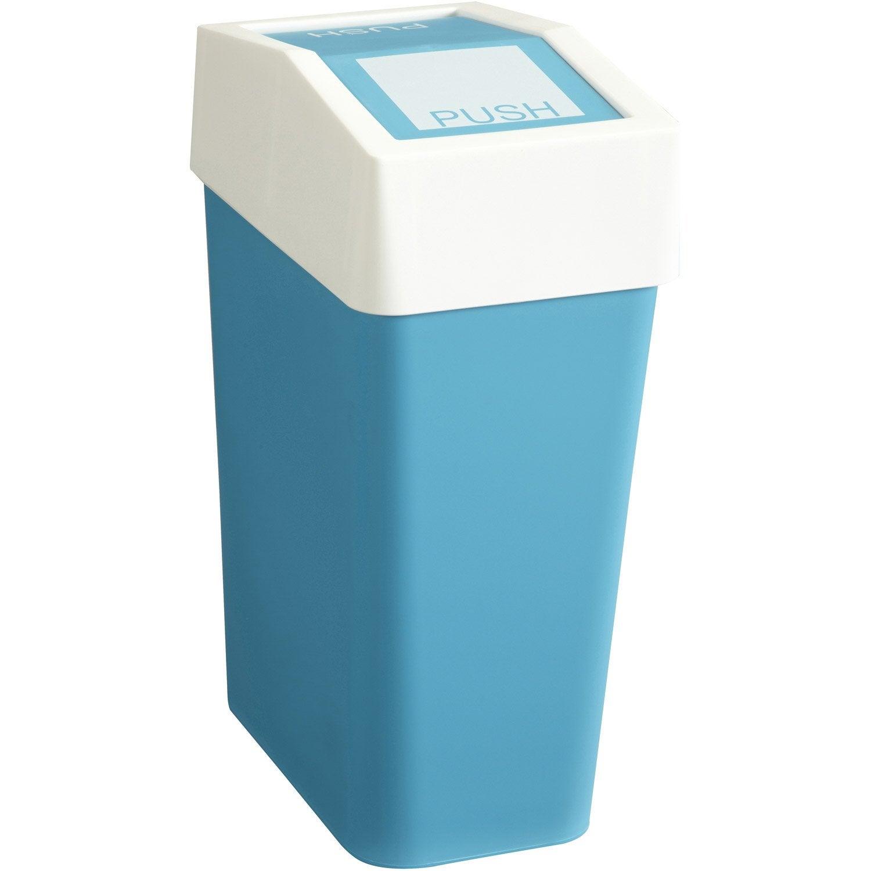 Poubelle de salle de bains 10L Fizz bleu  Leroy Merlin