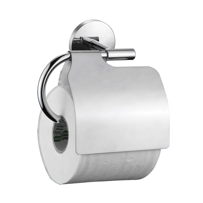 d rouleur papier toilette acier avec couvercle h 6 3 x cm leroy merlin. Black Bedroom Furniture Sets. Home Design Ideas