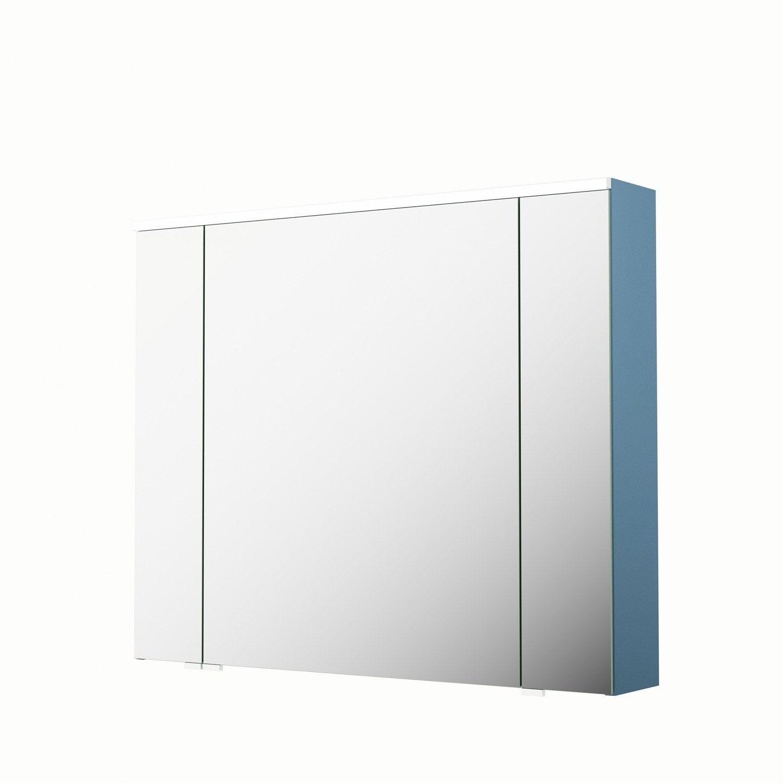 armoire de toilette lumineuse l 90 cm bleu sensea neo leroy merlin. Black Bedroom Furniture Sets. Home Design Ideas