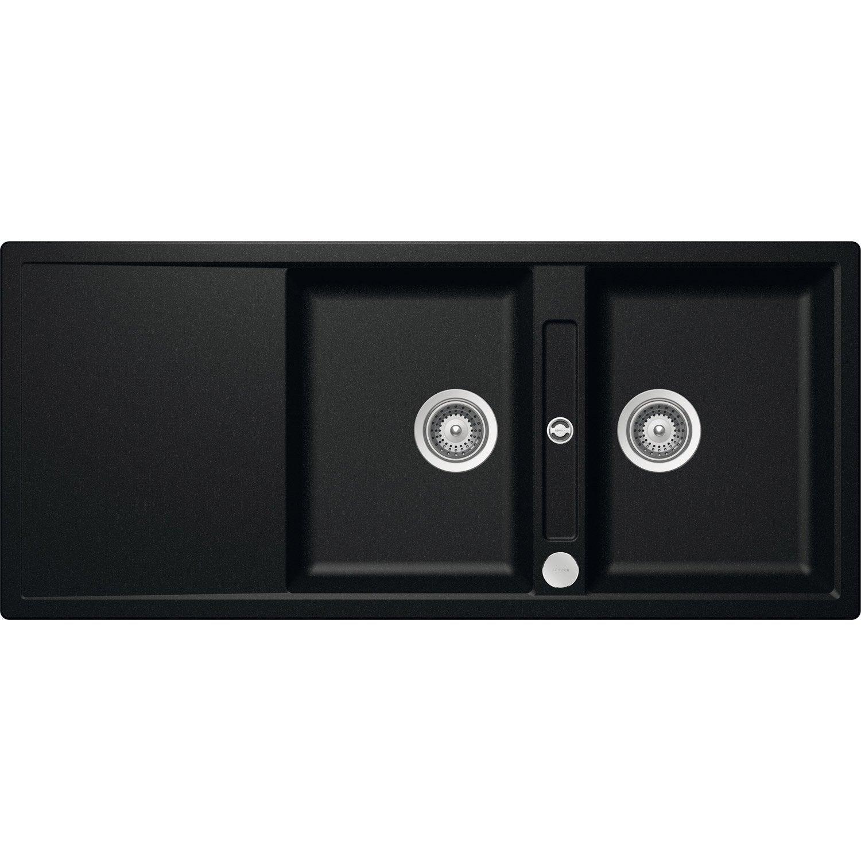evier encastrer quartz et r sine noir mono 2 bacs avec. Black Bedroom Furniture Sets. Home Design Ideas