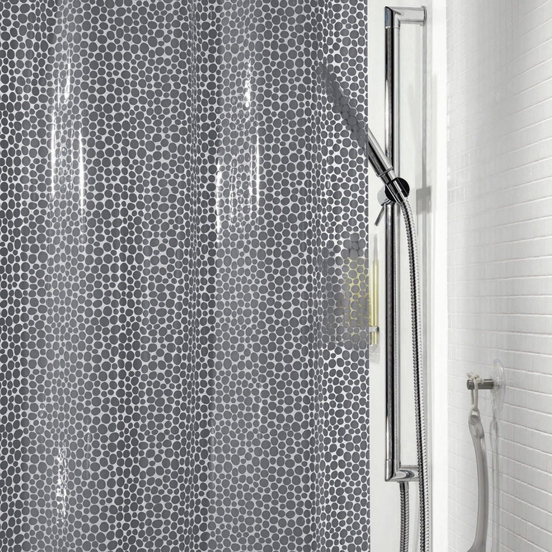 Rideau de douche en plastique gorron sensea gris 180 x 200 cm leroy merlin Galet douche leroy merlin