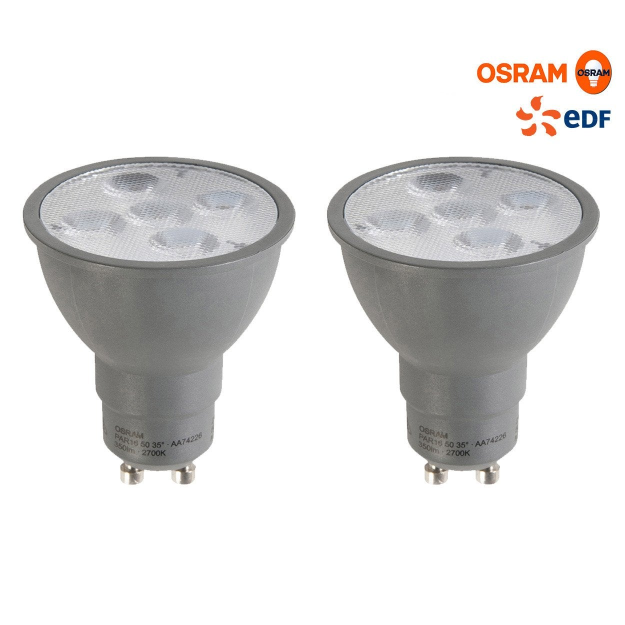 lot de 2 ampoules r flecteurs led 5w osram gu10 lumi re chaude env 2700 k leroy merlin. Black Bedroom Furniture Sets. Home Design Ideas