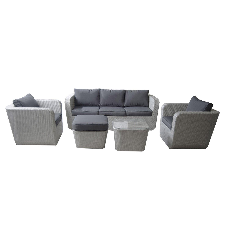 salon bas de jardin portovecchio r sine tress e gris t canap 2 fauteuils pouf leroy merlin. Black Bedroom Furniture Sets. Home Design Ideas