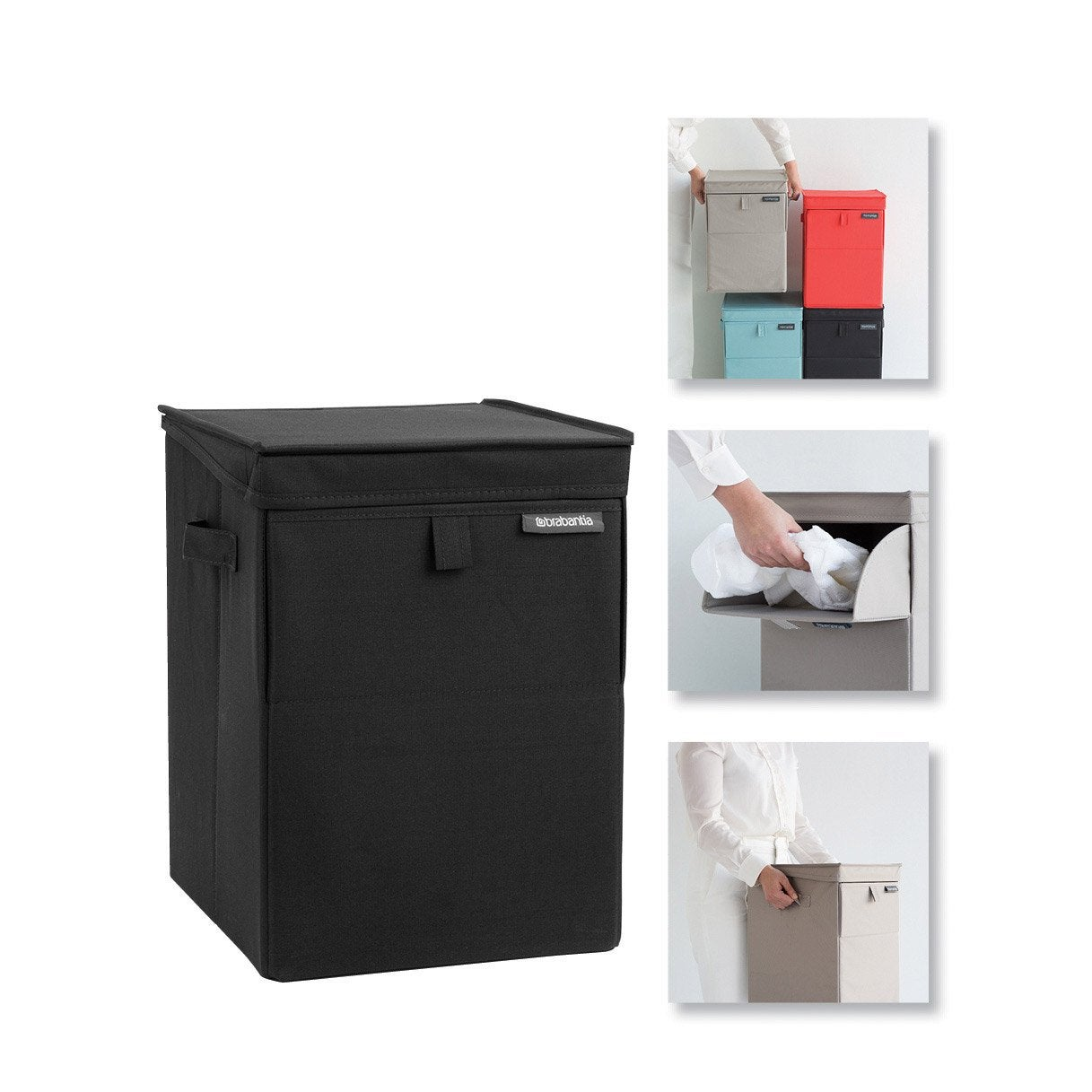 panier linge polyester coffre a linge empilable noir. Black Bedroom Furniture Sets. Home Design Ideas