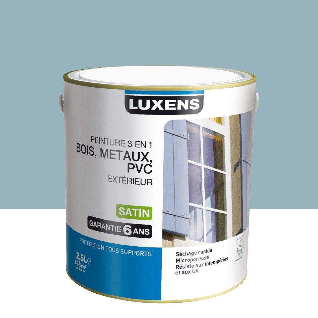 Peinture bois m taux et pvc ext rieur 3en1 luxens satin bleu ol ron 2 5l leroy merlin for Peinture pvc exterieur ral