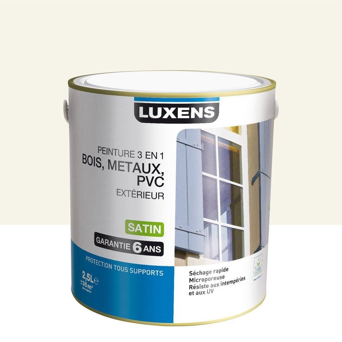 Peinture bois m taux et pvc ext rieur 3en1 luxens satin blanc ivoire n 5 2 5l leroy merlin - Peinture pvc leroy merlin ...