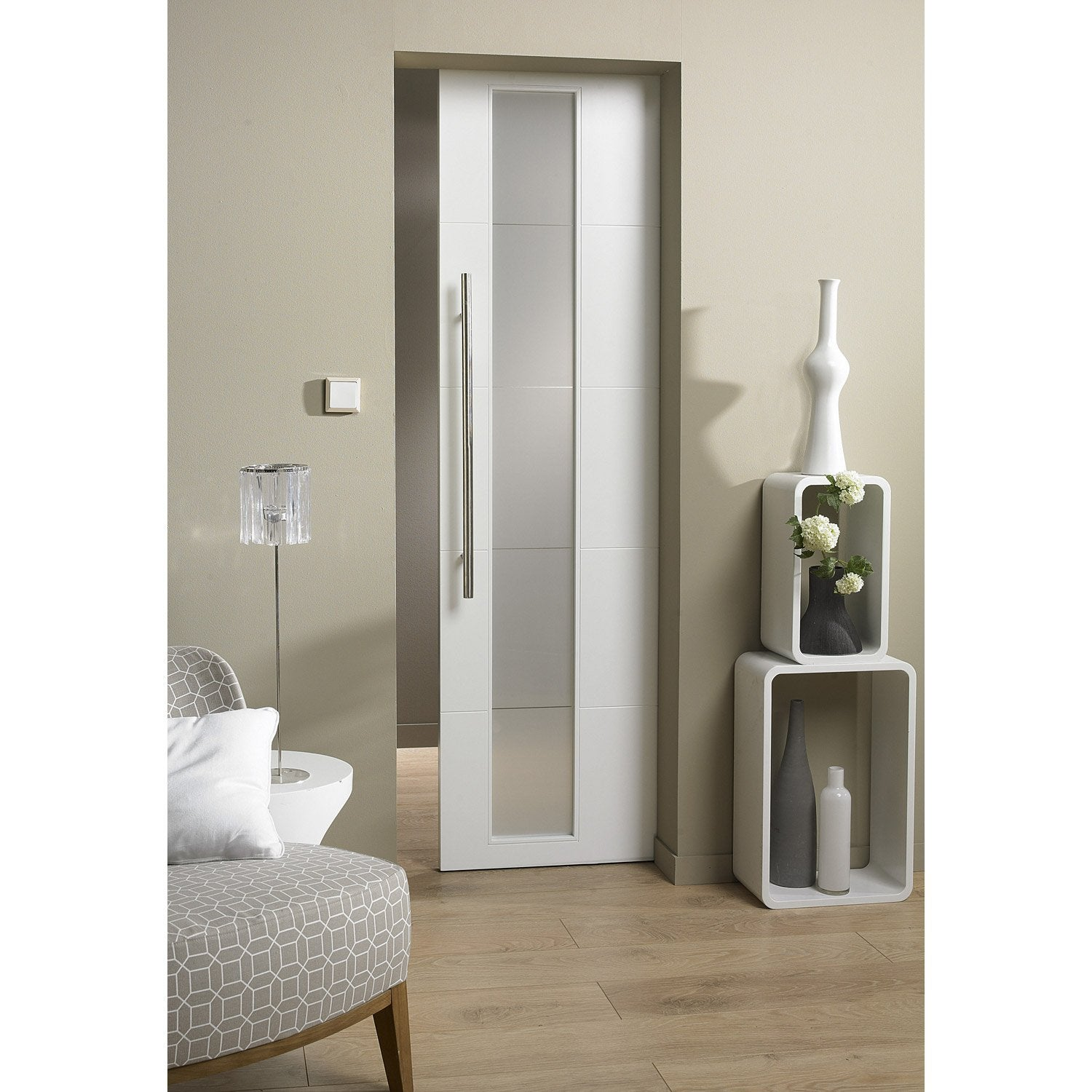 Ensemble porte coulissante alaska mdf laqu avec galandage for Porte interieur salon