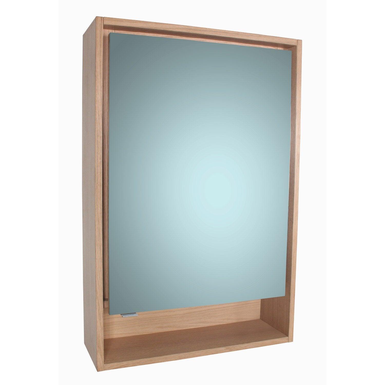 Armoire avec éclairage intégré l.60.0 cm, imitation chêne, sensea ...