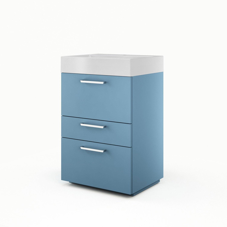 Meuble sous vasque x x cm bleu sensea neo - Leroy merlin meuble sous vasque ...